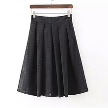 2016 Women Organza Midi Skirt Tulle Skirts A Line High Waist Pleated Skirt Spring&Summer Style Black White Female Kilt 35