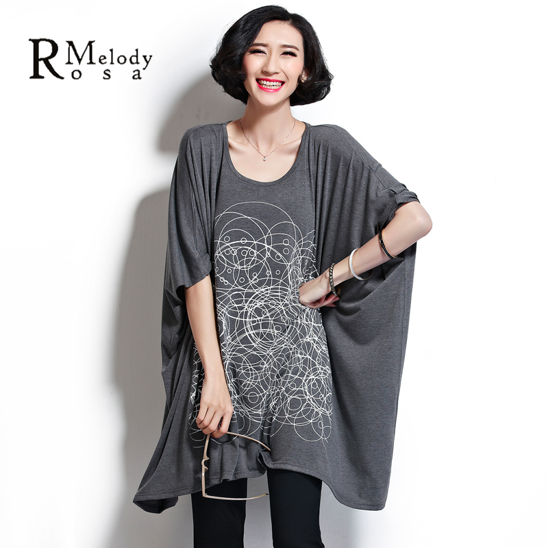 2015 Summer Plus Size Women Clothing 5XL 6XL Short Sleeve Cotton Loose Big Sizes Tunic T Shirt Dress for Women(R.Melody DS0016)(China (Mainland))