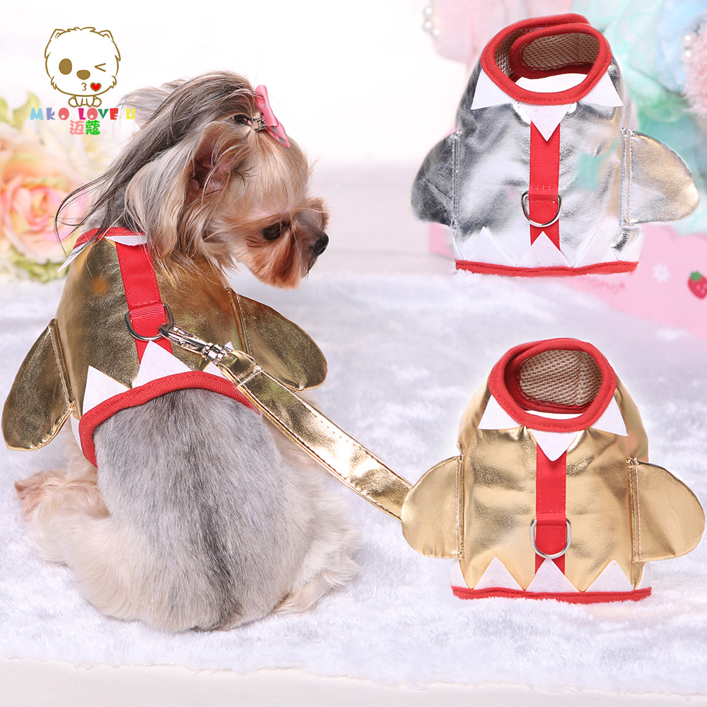 New 2016 Shiny Cute Kawaii Angel Pattern Dog Harness and Lead Pu Leather Pet Collar Silver and Golden(China (Mainland))