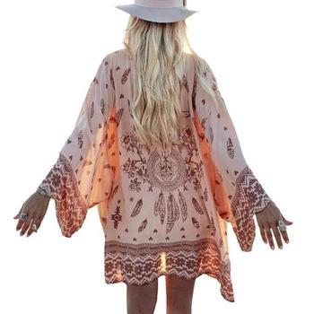 2016 Fashion Women Summer Chiffon Blouse Beach Boho Kimono Cardigan Floral Printed Long Sleeve Casual Loose Long Beach Cover up