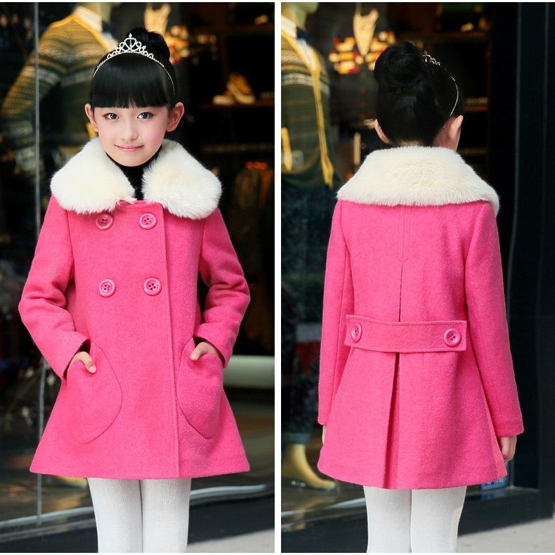 Скидки на Осень и Зима В Корейской Девушки Дети Новый Шерстяное Пальто Детская Одежда 2 Цвета