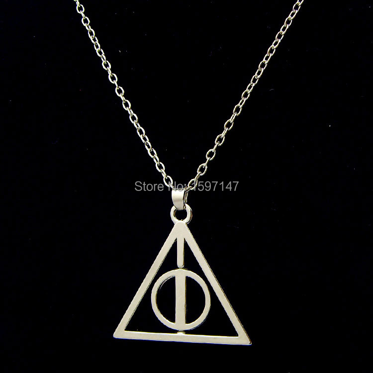 Fashion Movie Jewelry Harry Potter Silver Plated Rotatable Deathly Hallows Pendant Chain Necklace 12pcs/lot