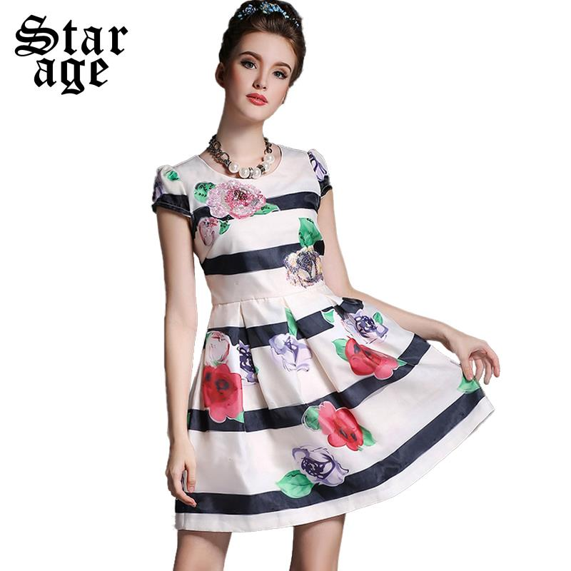 S-5XL Women Flower & Stripe Printing Dress 2015 Summer Fashion Brand Ladies Big Size Short Sleeve Summer Pleated Dresses A652(China (Mainland))