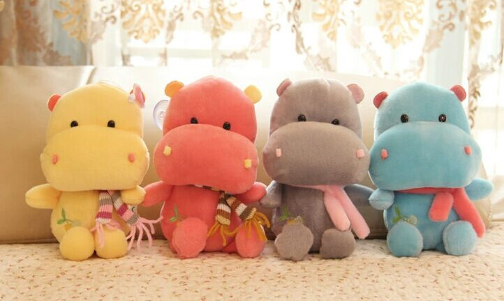 Kawaii Random Color BIG 22CM Scarf Hippo Gift DOLL Plush Stuffed TOY DOLL ; Sucker Car & Room & Window Pendant Bouquet TOY DOLL(China (Mainland))