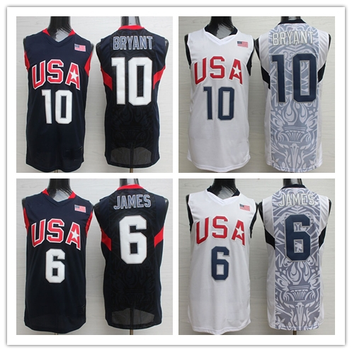The 2008 Beijing Olympic Games Cavs Jersey LeBron James 10 Kobe Bryant Vest White Navy Blue Dream Team USA Basketball Jerseys(China (Mainland))