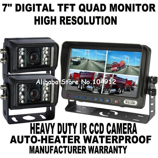 """7"""" Quad Monitor Rear View Backup Camera System+2 CCD(China (Mainland))"""