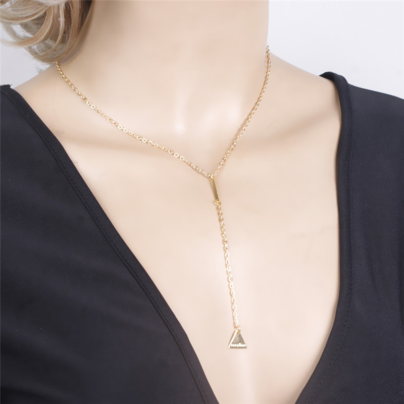 New vintage gold plated necklace chain jewelery fashion necklaces for women 2016 triangle tassel necklace tassels <font><b>neckless</b></font> women