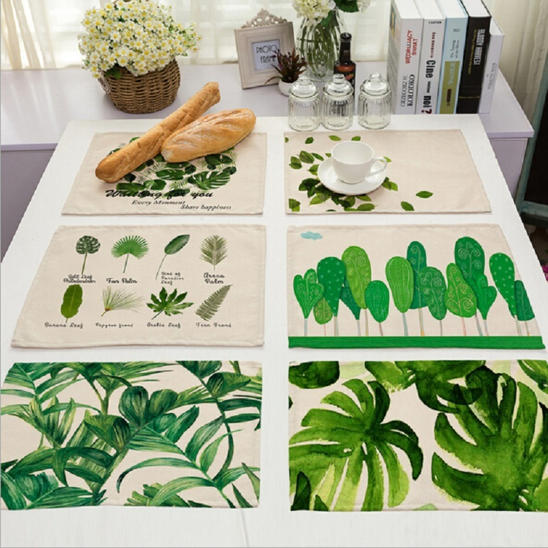 New Green Tropical Plants Leaves Insulation Placemats Place Pad Dining Table Mats For Home Hotel Decoration(China (Mainland))