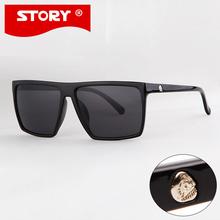 STORY Brand New Summer Style Steampunk Square Sunglasses Men SKULL Logo All Black Coating Glasses Women Retro gafas de sol(China (Mainland))