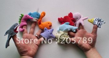 Hot selling!10design ocean animal finger puppet toys,plush puppet toys for baby,free shipping