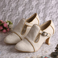 Wedopus MW189 Customized Chunky Heel Wedding Shoes T strap Off White Lace in Winter