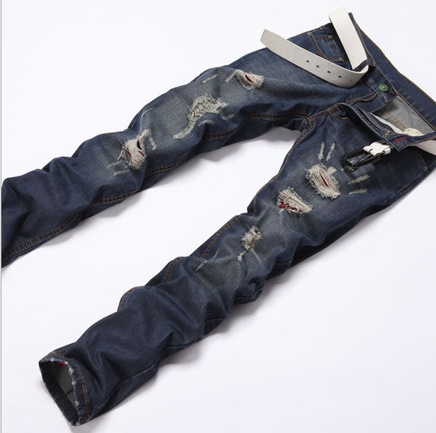 2016 Spring And Summer Fashion Brand Mens Trousers Slim Straight Mens Designer Ripped Jeans For Men Hole Cotton Denim PantsОдежда и ак�е��уары<br><br><br>Aliexpress