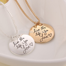 10pcs a lot live the life you love round double side pendant charm letter engraved reversible necklace jewelry with box chain(China (Mainland))