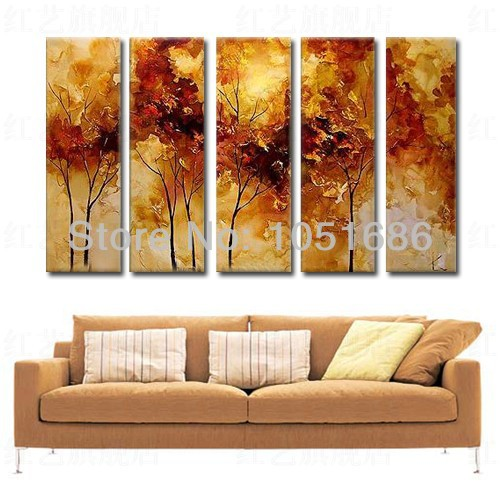Buy hand painted 5 pieces decoration home modern fashion abstract acrylic - Home decoration wholesale paint ...