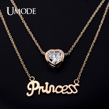 UMODE Rose Gold Plated with CZ stone 2 Layer Chains Princess Letter Necklace JN0115(China (Mainland))