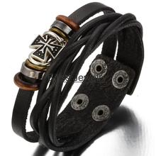Hot adjustable Vintage Men's Ladies Cross Twist Leather Bracelet Gifts For Male Boys wrap leather bracelet Pulseira de couro(China (Mainland))