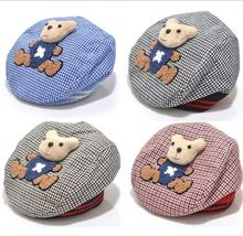 New Style Baby Hat Winter Animal Style Kid Hat Lovely Bear Cartoon Infantil Beret Tartan Newborn Photography Accessories