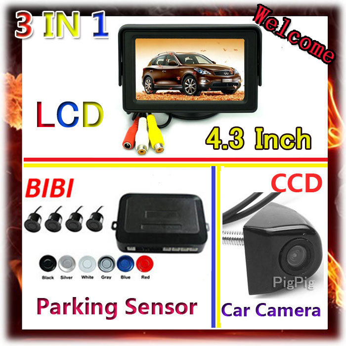 3 in 1 4.3 Inch Car Monitor For DVD VCD 2 Video Input &amp; CCD rear view Camera For Car System 4 Sensor 7 Color Parking Sensor Kit<br><br>Aliexpress