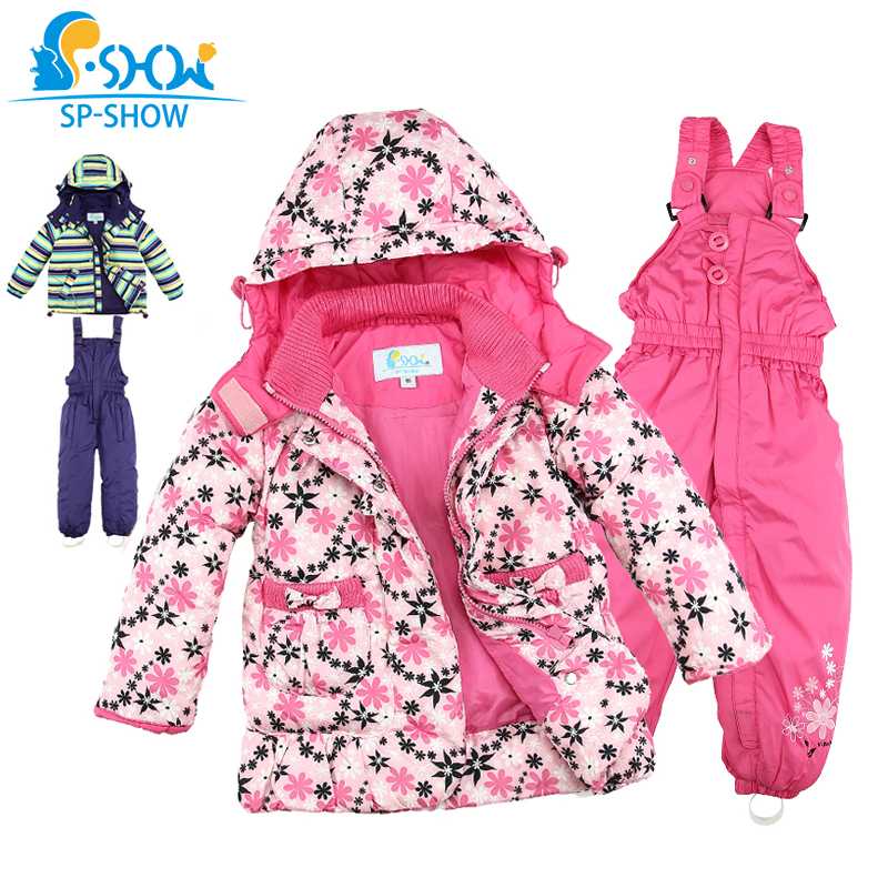 SP-SHOW Winter Children's Outwear Turtleneck striped and printed jackets Kids clothing boys and girls ski jacket suit 009/011(China (Mainland))