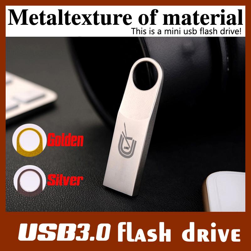 pen usb3.0 flash Waterproof Metal USB Flash Drive PenDrive 64GB 32GB 16GB 8GB USB Flash Memory Stick key Ring to default custom(China (Mainland))