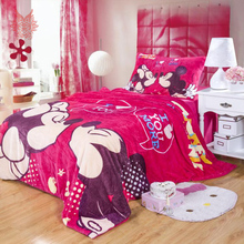 Home textile bedding sets flannel mickey print Minnie mouse queen/twin size cartoon kids comforter cover set Free ship SP2015(China (Mainland))