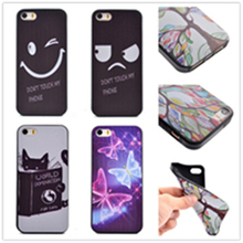 10 Pattern, Smile & Angry pattern TPU 3D print Painted Soft silicone black Case Cover For iPhone 6S Plus 5.5 Mobile Phone Bag