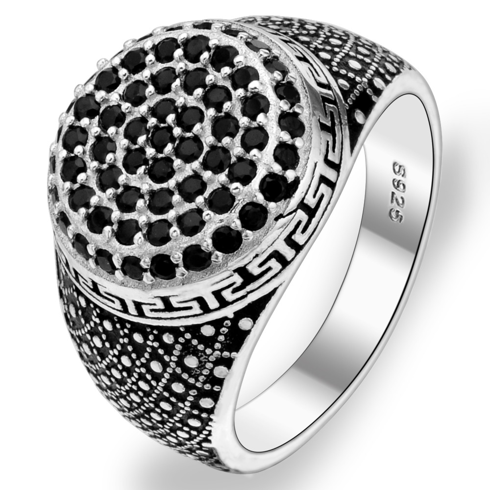 BELLA Fashion Men 925 Sterling Silver Black Multi Layer All Gems Ring Size 10/11 Silver Plated Cubic Zircon Ring For Party Daily(China (Mainland))