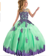 Little Girls Pageant Dresses 2016 Crew Neckline Lace Appliques Beads Sequins Ball Gown Red Little Girls Party Dresses 2016