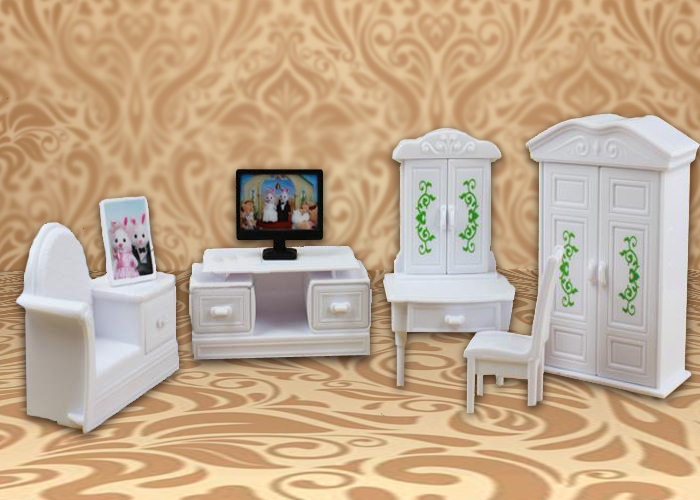 Japanese Anime 1_12 Deluxe White Living Room Television Minicraft DollHouse Home Furniture Kid Baby Toys Sets Sylvanian Families(China (Mainland))