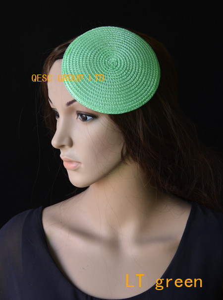 LT green 14cm Round PP straw base Disc Saucer Fascinator Base for sinmay fascinator.(China (Mainland))