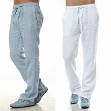 2015 Summer Leisure Trousers 5 Colors 100% Linen Cotton Elastic Waist Men Pants Regular Straight Bottom Flax Men Casual Pants