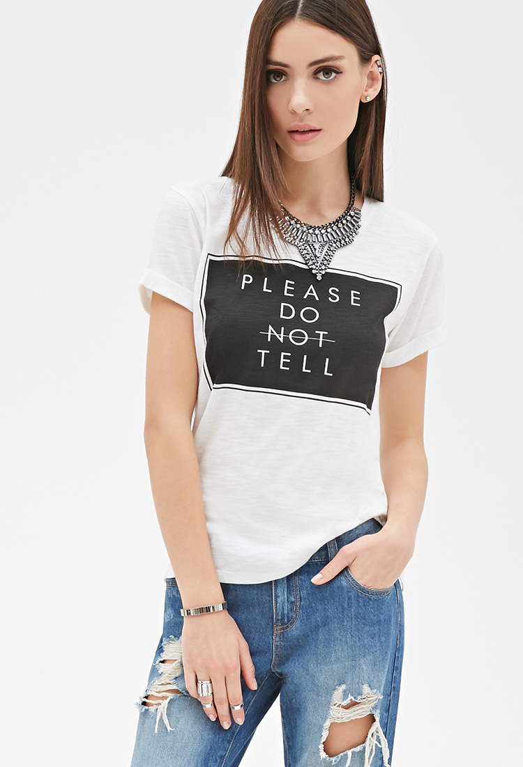 Forever Please Do Not Tell Graphic Letter Print Tee Women 21 Lightweight Knit Tee(China (Mainland))