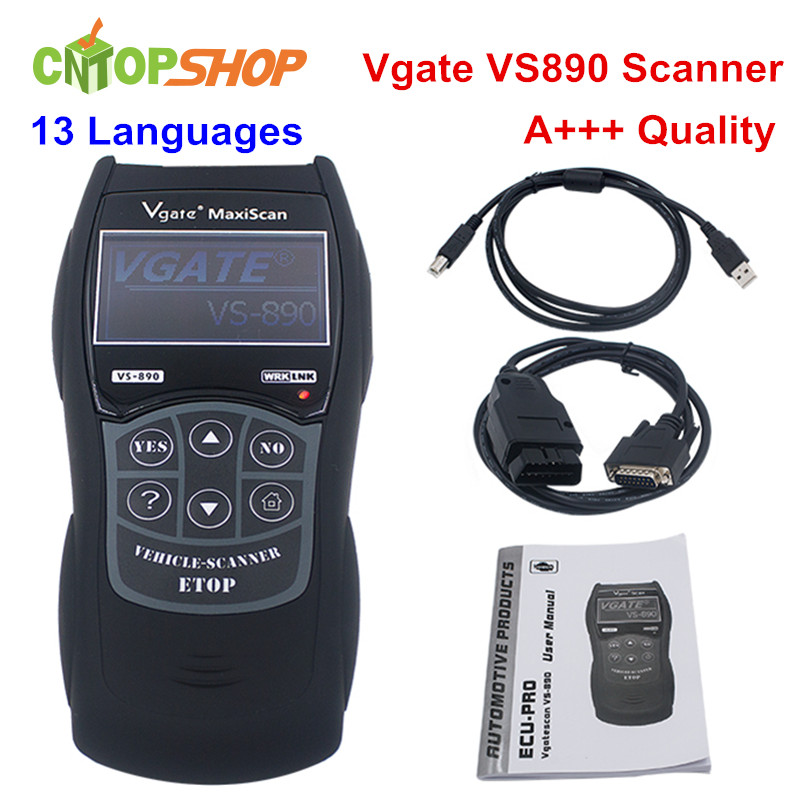 Newest Vgate VS890 OBD2 Diagnostic Scanner Vgate VS 890 Code Reader Vgate VS890 For Multi Cars Support Multi Languages(China (Mainland))