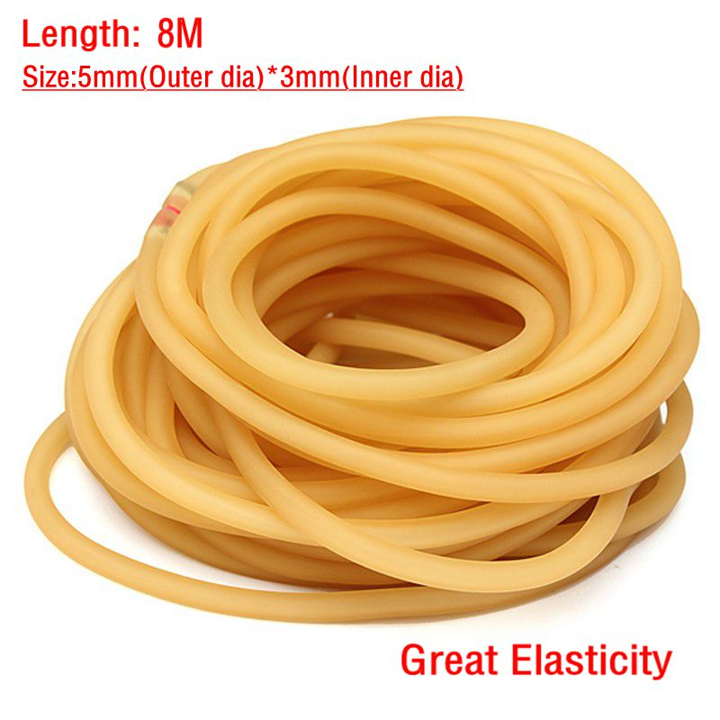 8M 3x5mm Natural Latex Resilient Tube Powerful Elastic Slingshot Rubber Band Tube Resilient Hunting Catapult Parts Equipment(China (Mainland))