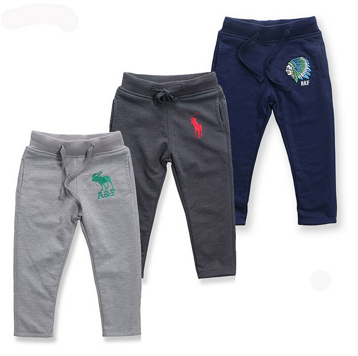 New  Boy knitted casual pants. Double cotton Sweatpants kids Embroidery logo pure cotton Sport trousers<br><br>Aliexpress