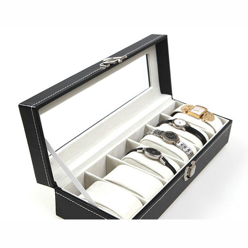 new Wrist Watch Display Storage Organizer Box Container 6 Cell Leather Windowed Case watch box 6 cells hot selling(China (Mainland))