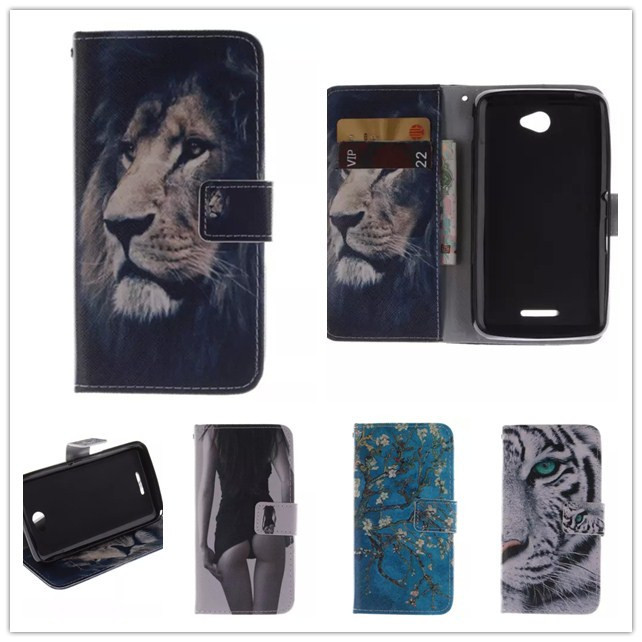 Luxury Cartoon Tiger Flip Wallet Leather Case Cover Sony Xperia E4 Dual E2105 E2115 Cell Phone Card Holder - Shenzhen SmallTimes Store store