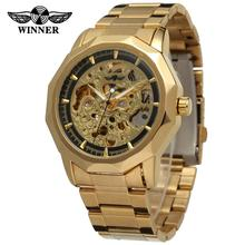WINNER Men's Watch Branded Waterproof Wristwatch Skeleton Autoamtic Stainless Steel Bracelet Gold Color WRG8033M4(China (Mainland))