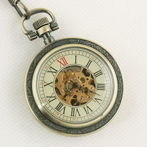 Free Shipping Leather Back Mechanical Skeleton Dial Men Pocket Watch Hand winding NV0123 Pow