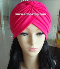 Fashion 30pcs/lot India muslim Hat women's turban elastic hip-hop dance party hat bandanas 13Colors big satin bonnet turban