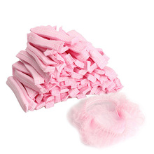 LS4G 100PCS Disposable Hair Shower Cap Non Woven Pleated Anti Dust Hat Set Pink(China (Mainland))