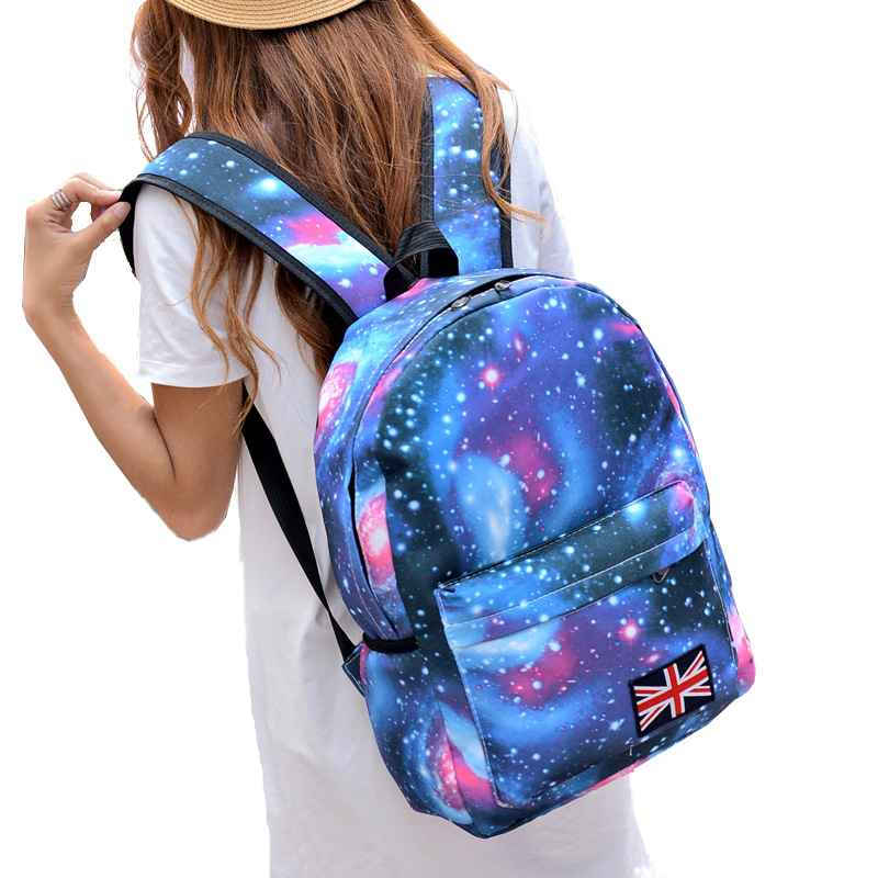 New 2016 Fashion Backpack Woman's Schools Bag Unisex Stars Universe Space Printing Canvas Female Backpacks Print DF441(China (Mainland))