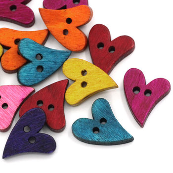 "Wood Sewing Button Scrapbooking Heart Mixed 2 Holes 21.0cm(8 2/8"")x 17.0mm( 5/8""),15 PCs 2015 new"
