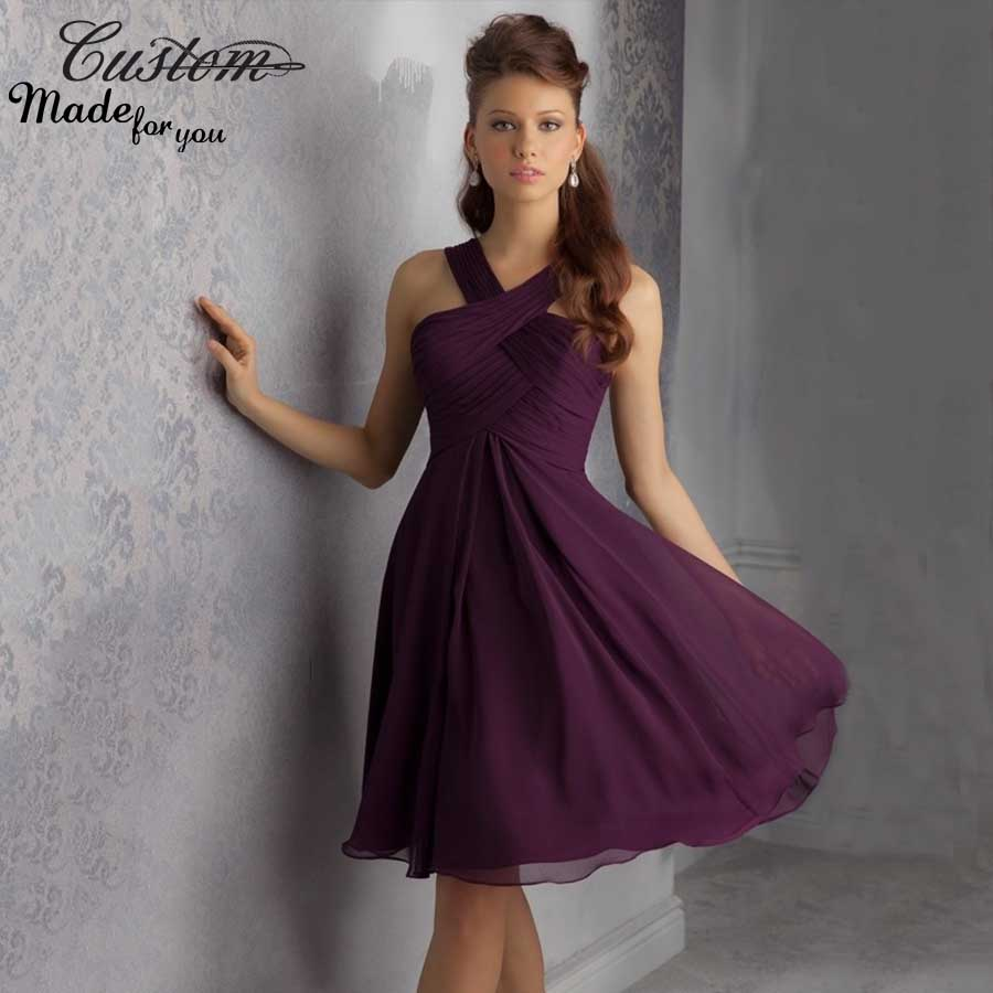 Plum Colored Short Bridesmaid Dresses - Junoir Bridesmaid Dresses