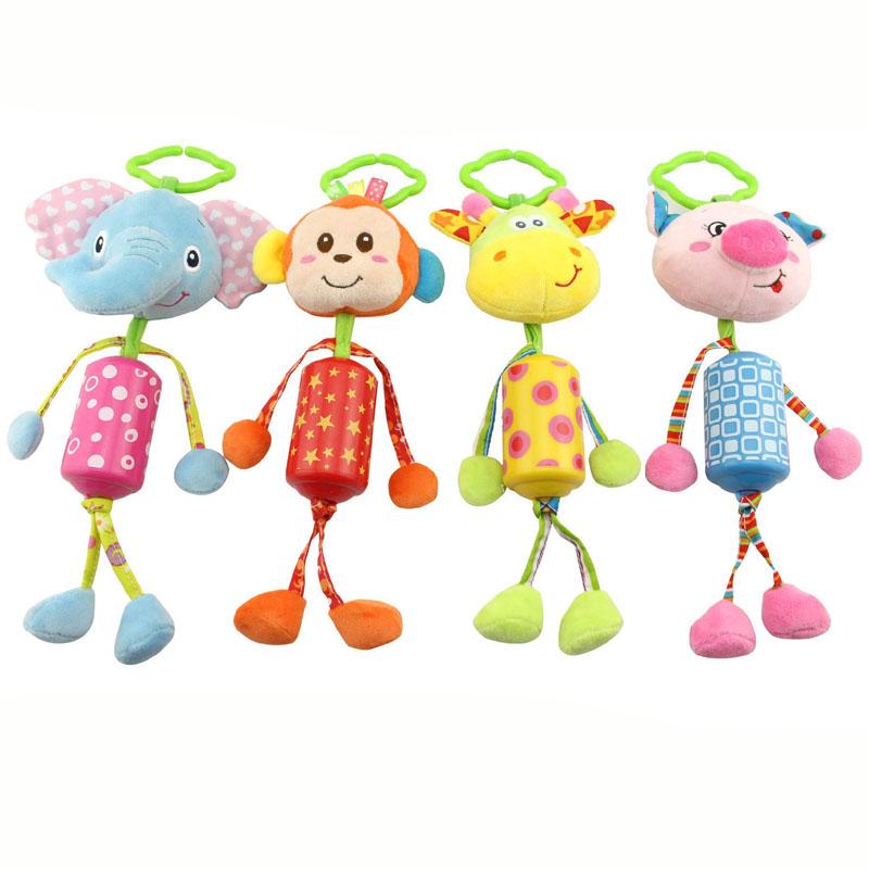 26cm soft Baby Toys stuff monkey elepant pig giraffe with Ring Bell Cute Cartoon Animal Plush creative Doll Early Educational(China (Mainland))