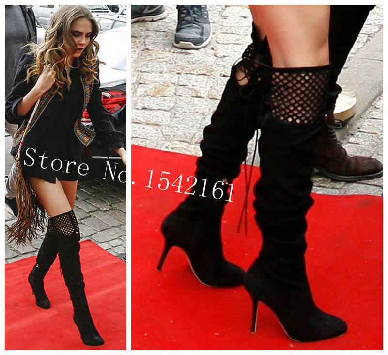 Cara Delevingne Flashes Endless Legs Racy Sopia Webter Thigh High Boots Autumn Boots Leather Women Boots High Heels Shoes Woman<br><br>Aliexpress