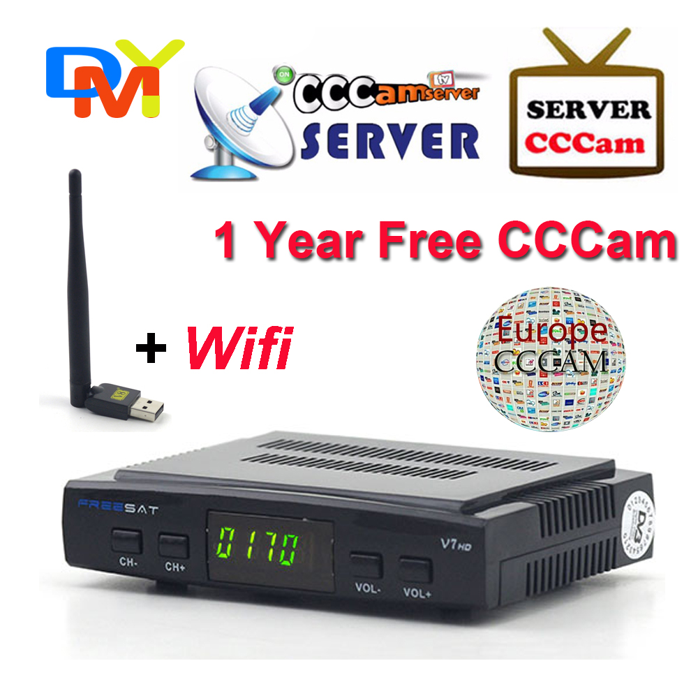 Satellite TV Receiver decoder Freesat V7 HD DVB-S2 + USB Wfi with 12 months Europe CCCam account support full powervu cccam(China (Mainland))