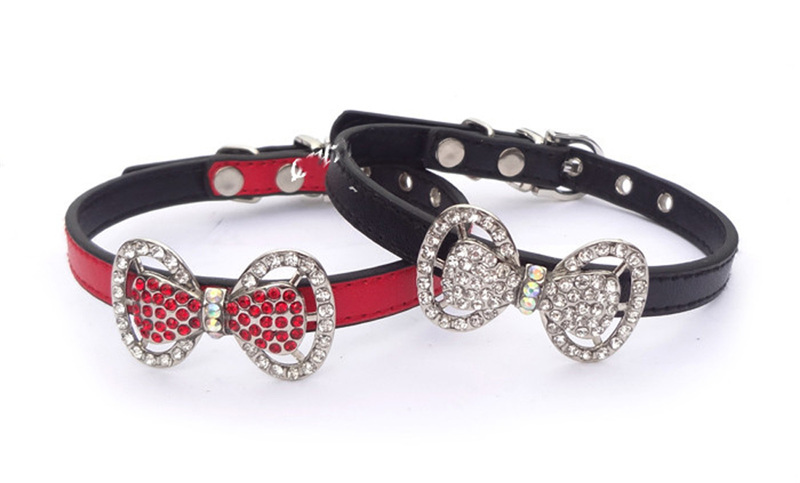 Bling Rhinestone Bowtie Pet Cat Dog Collar Necklace Jewelry for chihuahua yorkie DR041(China (Mainland))