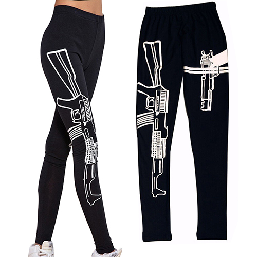 Personalized Black Elastic Cotton Yoga Leggings Machine Gun Pattern Printed Gym Fitness work out leggings Tights Pants Одежда и ак�е��уары<br><br><br>Aliexpress