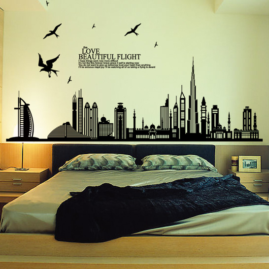 beautiful flight cityscape wallpaper bedrooms vinyl big